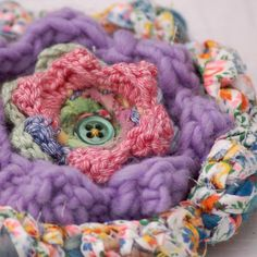 Crochet flower with vintage fabric