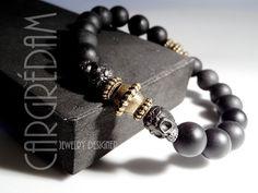 Bracelet homme tête de mort gun métal haute qualité onyx noir mat et bronze : Bijoux pour hommes par shamballa-s-cargredam1