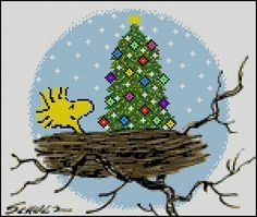 Woodstock's Christmas Tree - Counted Needle Point and Cross Stitch Chart Patterns