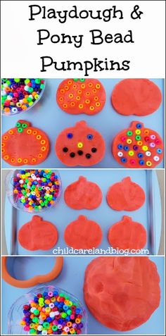 Playdough and Pony Bead Pumpkins ... excellent for fine motor and can be extended into a math activity by counting the number of pony beads in each pumkpin.