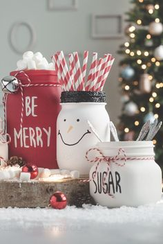 You don't need advanced carpentry skills to get started with these 19 DIY mason jar crafts that are amazing and will create too much fun for your kids! Hot Cocoa Bar Mason Jars It's a cozy,… Glitter Mason Jars, Mason Jar Gifts, Mason Jar Candles, Mason Jar Diy, Paint Mason Jars, Mason Jar Christmas Crafts, Jar Crafts, Diy Christmas Gifts, Christmas Ideas