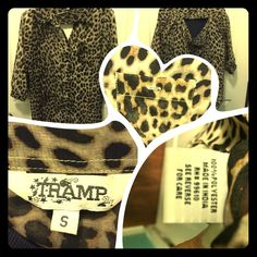 Animal print sheer top. Sassy cheetah print top. Half sleeves, a high-low hem and a cutout in the back. Size small but it fits more like a medium if you don't want it to be flowing. Has never had a button for the front pocket..(i don't know why) it came from the store that way... Cute top to be worn over a tank top. Tramp Tops Blouses