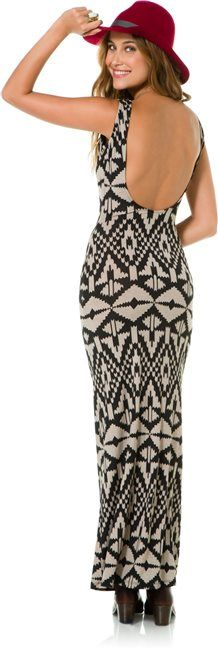 Veronica M Jordan Printed maxi dress with sexy low back http://www.swell.com/Womens-Dresses/VERONICA-M-JORDAN-PRINTED-MAXI-DRESS?cs=TP