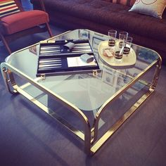 Brass & glass square coffee table - the perfect addition to your American Hustle pad!