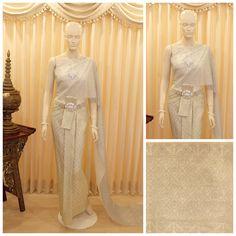 ชุดไทย ผ้านุ่งโบราณแท้ สี ครีมงา ดิ้นเงิน ปักเงิน :: บริการเช่าชุดแต่งงาน, ตัดเช่าชุดแต่งงาน, ชุดราตรี, ออกแบบชุดแต่งงาน, Pre-wedding , ชุดแต่งงาน , ชุดแต่งงานสวยๆ