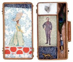 Hunter and Gatherer: Collage mixed media antique wood box