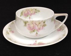 ROSENTHAL ROSES DONATELLO PORCELAIN DEMITASSE CUP AND SAUCER