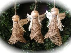 Christmas Ornament- burlap angel