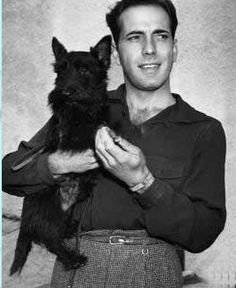 Humphrey Bogart with one of his Scotties Puppy Dogs Hound Pups Hunting Puppies Scottish Terrier