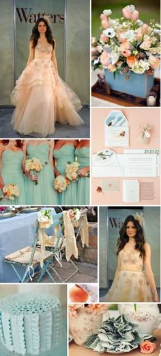 Beach Wedding Color Palette Help/Suggestions :  wedding aqua beach wedding destination reception ivory table linens light blue peach pink Peach And Blue Board