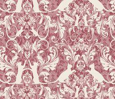 white on pink cat damask fabric by kociara on Spoonflower - custom fabric