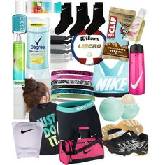 Volleyball Practice/Camp by emmarcausey on Polyvore featuring polyvore, fashion, style, NIKE, Asics, Eos, Degree, Pin Show and Essie