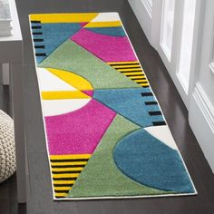 Shop Safavieh Hollywood Adilene Mid-Century Modern Abstract Rug - On Sale - Overstock - 14328710 - x - Peacock Blue/Fuchsia Contemporary Area Rugs, Contemporary Home Decor, Modern Area Rugs, Mid Century Modern Rugs, Modern Family Rooms, Online Home Decor Stores, Geometric Designs, Rodeo, Rugs Online