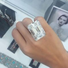 """Ever wondered what a 100 carat diamond ring looks like? Here is the ultimate emerald-cut diamond, Weighing carats, D colour, internally flawless"""" and """"unlike any diamond offered at auction before"""" Diamond Jewelry, Jewelry Rings, Jewelry Accessories, Fine Jewelry, Jewelry Design, Jewelry Box, Geek Jewelry, Diamond Pendant, Emerald Cut Diamonds"""