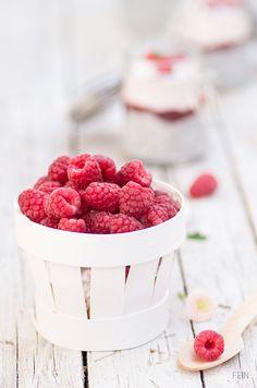 chia pudding with raspberry puree and yogurt