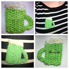 St. Patrick's Day Crochet Green Beer Brooch Pin