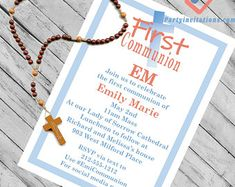 First communion party invitations coral and blue for a girl or a boy First Communion Party, First Communion Invitations, Party Invitations, West Milford, Our Lady Of Sorrows, Rsvp, Coral, Place Card Holders, Social Media