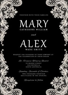 Black and White Lace Wedding Invitation Suite, with RSVP Card, Belly Wrap and…