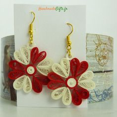 Bijoux fait main quilling en form de fleures
