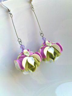 Lotus- long earrings-polymer