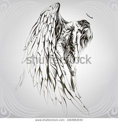 Find Rescue By Angel Vector Illustration stock images in HD and millions of other royalty-free stock photos, illustrations and vectors in the Shutterstock collection. Thousands of new, high-quality pictures added every day. Angel Warrior Tattoo, Trash Polka Art, Create A Tattoo, Tattoo Posters, Angel Vector, Wolf Painting, Angel Drawing, Norse Tattoo, Angel Tattoo Designs