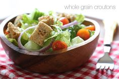 Homemade Croutons - These are so simple to make, with ingredients you probably already have on hand. #weightwatchers