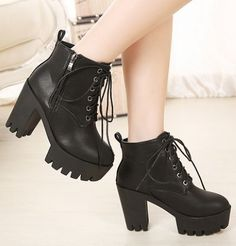 Street Style Black Chunky Heel Boots
