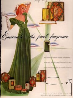 "Vintage Coty Emeraude ad.  The scent is described wonderfully by Bigsly at Basenotes.com: ""...There is a sharp greenish note kicking around that I'm not sure I like, but it's not something that ruins it. In fact, I may grow to like it (only wore it once). There is also an animalic note that is a bit different from any other I've smelled, but the closest thing I can think of is Habit Rouge. Perhaps it is the combination of orange blossom and ""dirty"" jasmine..."""