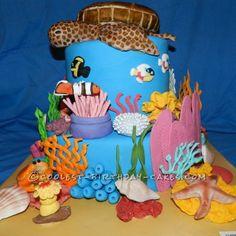 Ocean, Underwater Decorated Cake  http://ediblecraftsonline.com/ebook2/mybooks73.htm?hop=megairmone