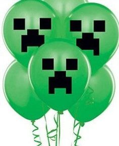 Stilige grønne ballonger i Minecraft-tema! 10 stk i pakken. Donut Bar, Black Construction Paper, Minecraft Party, Party Plates, Paper Tape, Latex Balloons, Creepers, Diy For Kids, Party Supplies