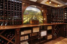 Wine cellar with beautiful mural