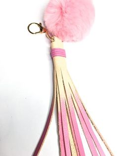 Pink Leather Tassel with Pom-pom // Stylish Keychains // FUN Leather accessories handmade by StudiOH, Shoppe!