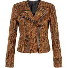 Cutie Brown Suedette Animal Print Biker Jacket ($65) ❤ liked on Polyvore featuring outerwear, jackets, brown, long sleeve jacket, zipper jacket, animal print jacket, zip jacket and moto zip jacket