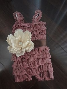 Dusty Rose Lace Romper and Sash-Baby Girl-Toddler-Ruffle Romper-Lace Petti Romper-Baby -Toddler-Photo Prop. $24.95, via Etsy.