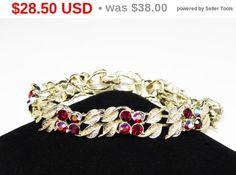 Ruby Red Aurora Borealis Bracelet - Red Rhinestones and Goldtone Leaves - Mid Century 1950's Era Vintage Jewelry