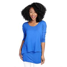 721-868 - Kate & Mallory® Knit Dolman Sleeve Layered Tunic w/ Attached Tank