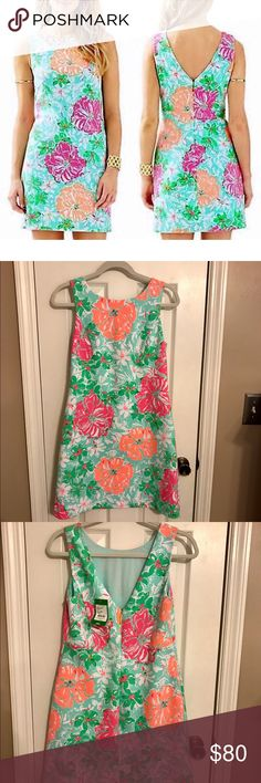 NWT Lilly Pulitzer Eden Shift Size Small NWT Lilly Pulitzer Eden Shift Size Small in Poolside Blue Beachwalk.  Origin $178.  Asking $70 Open to reasonable offers. Lilly Pulitzer Dresses Mini