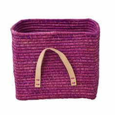 Rice Denmark Raffia Storage Basket, Lavender, Leather Handles : Gifts and Accessories from Scandinavia Baby Decor, Kids Decor, Square Baskets, Goods Home Furnishings, Pip Studio, Small Furniture, Purple Leather, Storage Baskets, Leather Handle