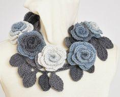 ROSA   GREY Crochet Grey Shade  Roses by jennysunny on Etsy,
