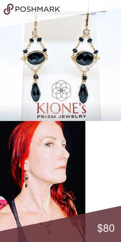 Black spinel, crystal drop & 14kt GF earrings Black spinel, black crystal drop and 14 karat yellow gold filled $80.  Also available in 14 karat rose gold filled $80 or sterling silver $70  Handmade by Kione's Prism Jewlery Kione's Prism Jewlery Jewelry Earrings Black Spinel, Crystal Drop, Black Crystals, Jewlery, Crochet Earrings, Rose Gold, Drop Earrings, Sterling Silver, Yellow