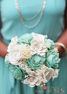 Custom Handmade Wedding Bouquet Set- Alternative Flower Bouquet, Bridesmaid Bouquets, Keepsake Bouquets. $262.50, via Etsy.
