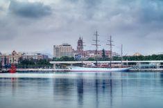 Legendary windjammer Sea Cloud - Malaga, Spain - April 26, 2018. Sailing cruise ship legendary windjammer Sea Cloud in Malaga port, Spain