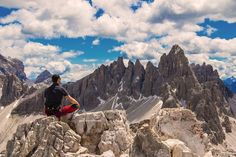 Dalla cima della torre di Toblin, ragiunta per via ferrata, panoramio sul monte Paterno, Dolomiti.