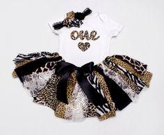 3Pc Set - Safari Jungle Fabric Tutu, Bodysuit, and Headband // Animal Print, Brown, Black, Lace // One, Two, Three // Baby, Toddler, or Girl