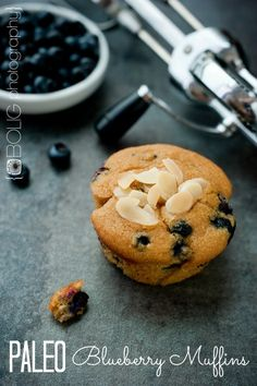 """Paleo Blueberry Muffins - these look, feel and taste like """"regular"""" muffins. The crumb texture is pretty amazing!"""