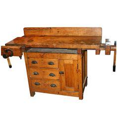 Antique Maple Workbench Folk Table