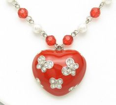 Vintage Red Heart Rhinestone Necklace Butterfly by hawaiibeads2, $21.00