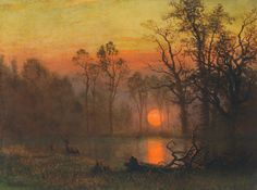 Le Prince Lointain: Albert Bierstadt (1830-1902), Sunset over the Plai...