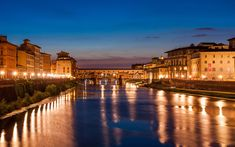 Download wallpapers Ponte Vecchio, Florence, Tuscany, Italy, evening, Arno River, bridge, city lights