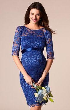 Короткое вечернее платье для беременных - Амелия Королевский Синий